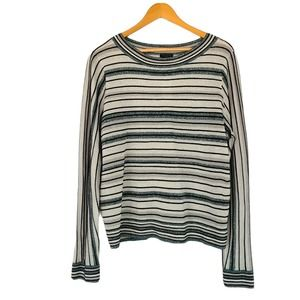 Ann Taylor Shimmer Striped Long Sleeve Sweater XL